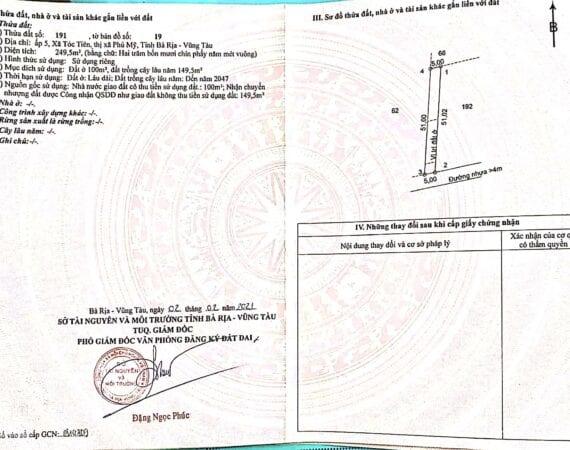 Bán 250M2 Đất Thuộc Xã Tóc Tiên – Phú Mỹ – Bà Rịa
